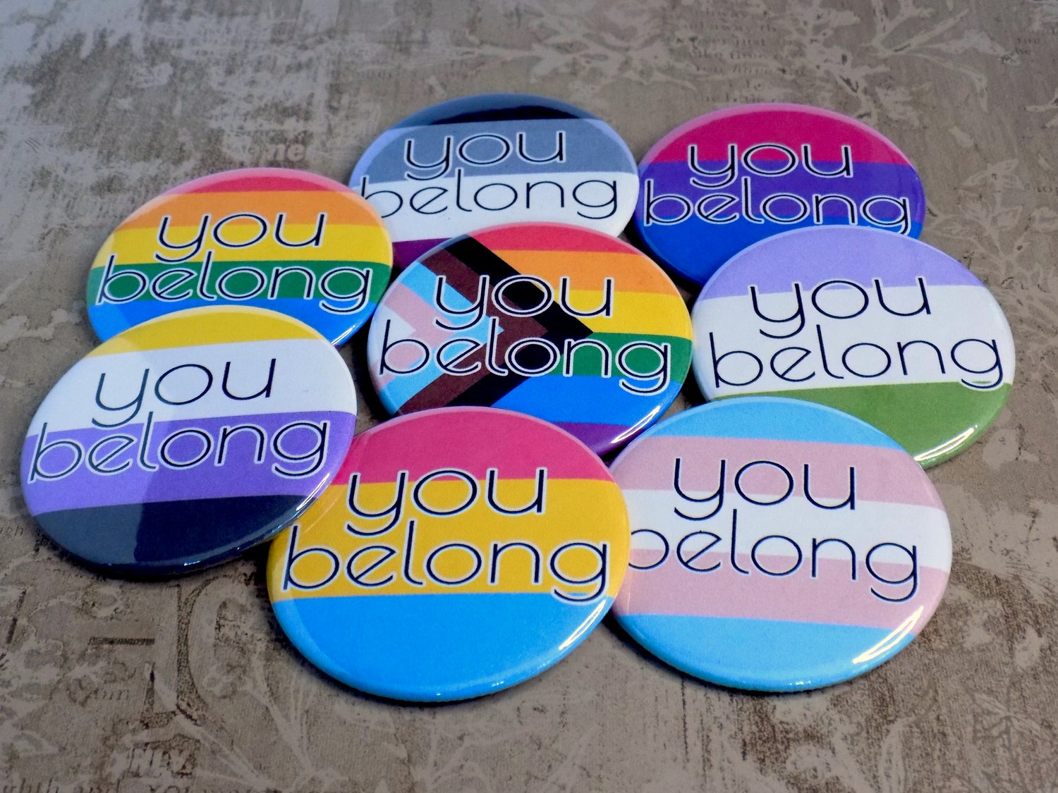 You Belong Pride Flag Buttons