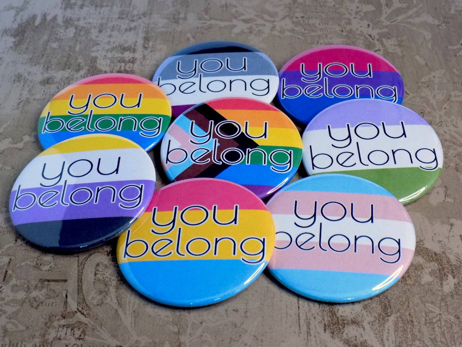 Image of You Belong Pride Flag Buttons