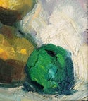 Mid-century Modern Swedish Artist  'Still life with Oil Lamp and Apple'
