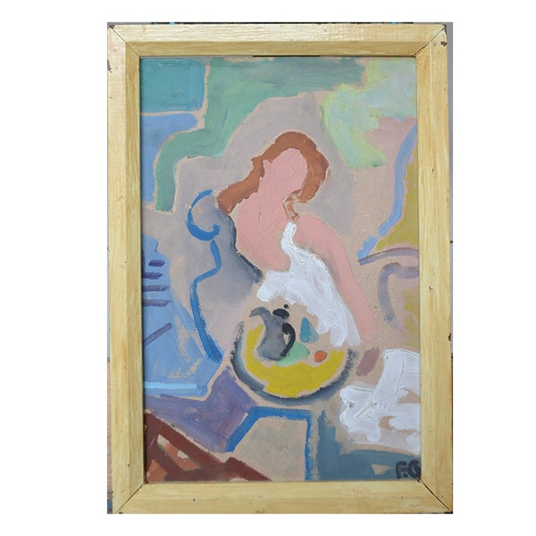 Image of Mid-century French, Abstract Painting, The Yellow Table