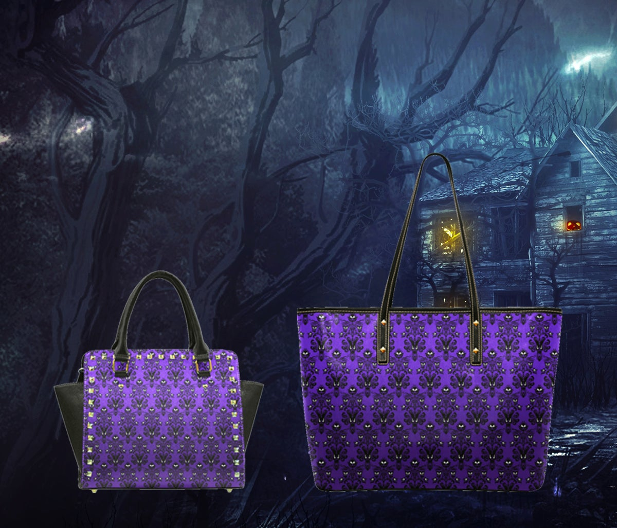 Image of Spooky damask wallpaper Bag Collection