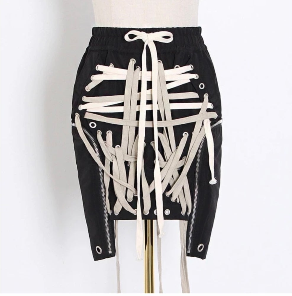 Image of Lace Up Mini Skirt