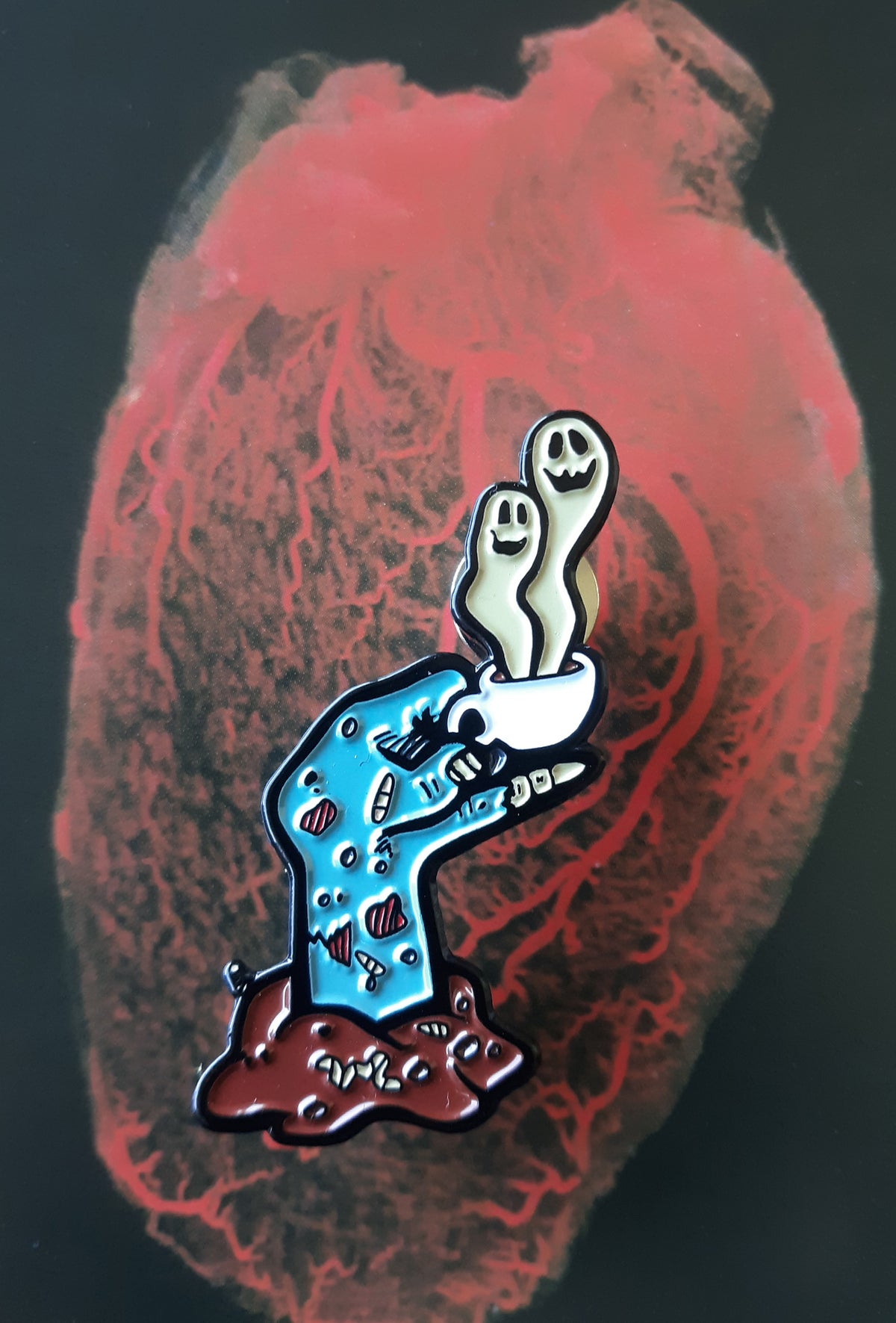 "Glassworks Coffee ROAST IN PEACE 1.75"" Zombie Hand Limited Edition Enamel Pin"