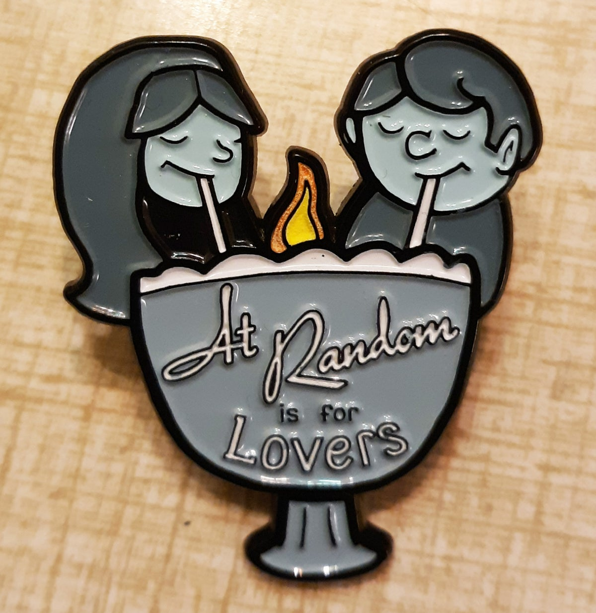 "AT RANDOM IS FOR LOVERS Milwaukee Tiki Love Bowl BLUE 1.75"" Soft Enamel Pin w/ Glowing Flame"