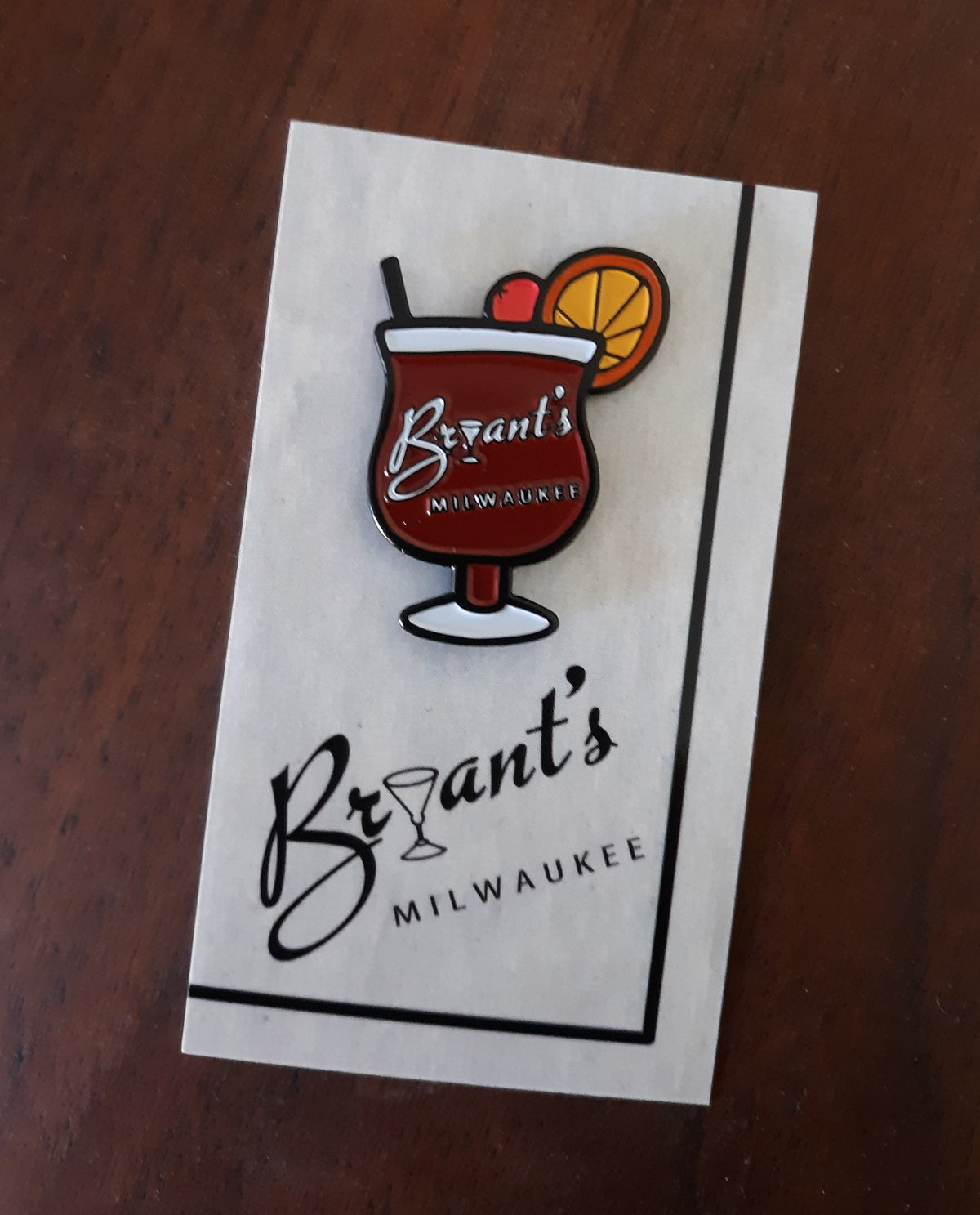 "BRYANT'S COCKTAIL LOUNGE Milwaukee 1.5"" Old Fashioned Limited Edition Enamel Pin"