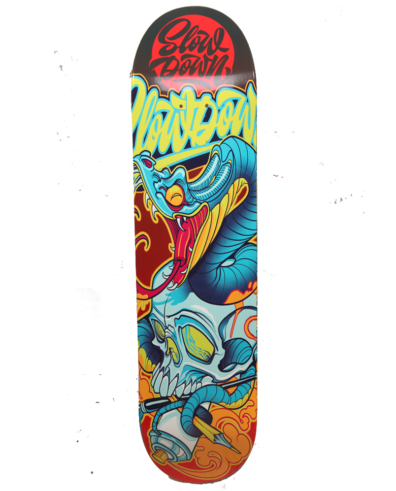 Image of Slowdown Snake Skull Skate Deck