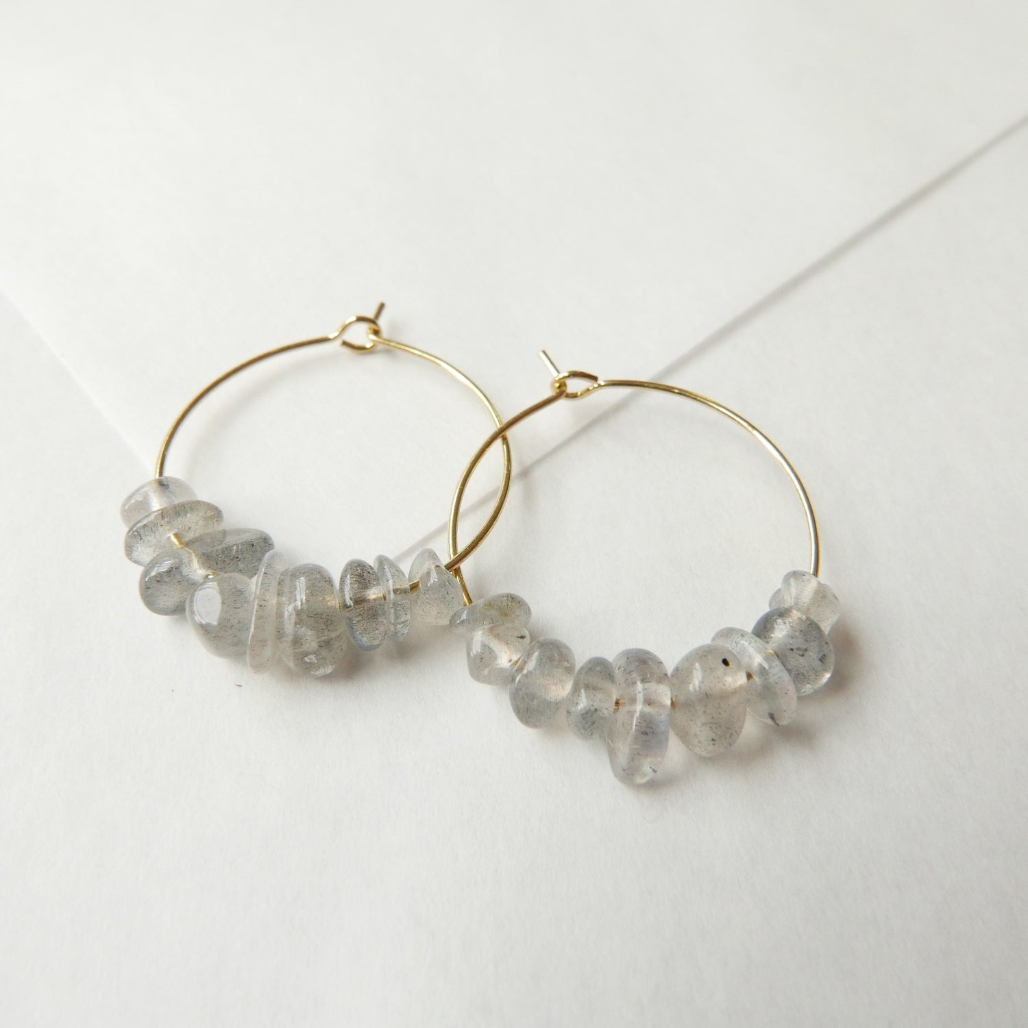 Image of Goodheart Hoops Gemstone - Labradorite