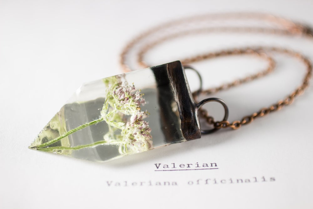 Image of Valerian (Valeriana officinalis) - Small Copper Prism Necklace #7
