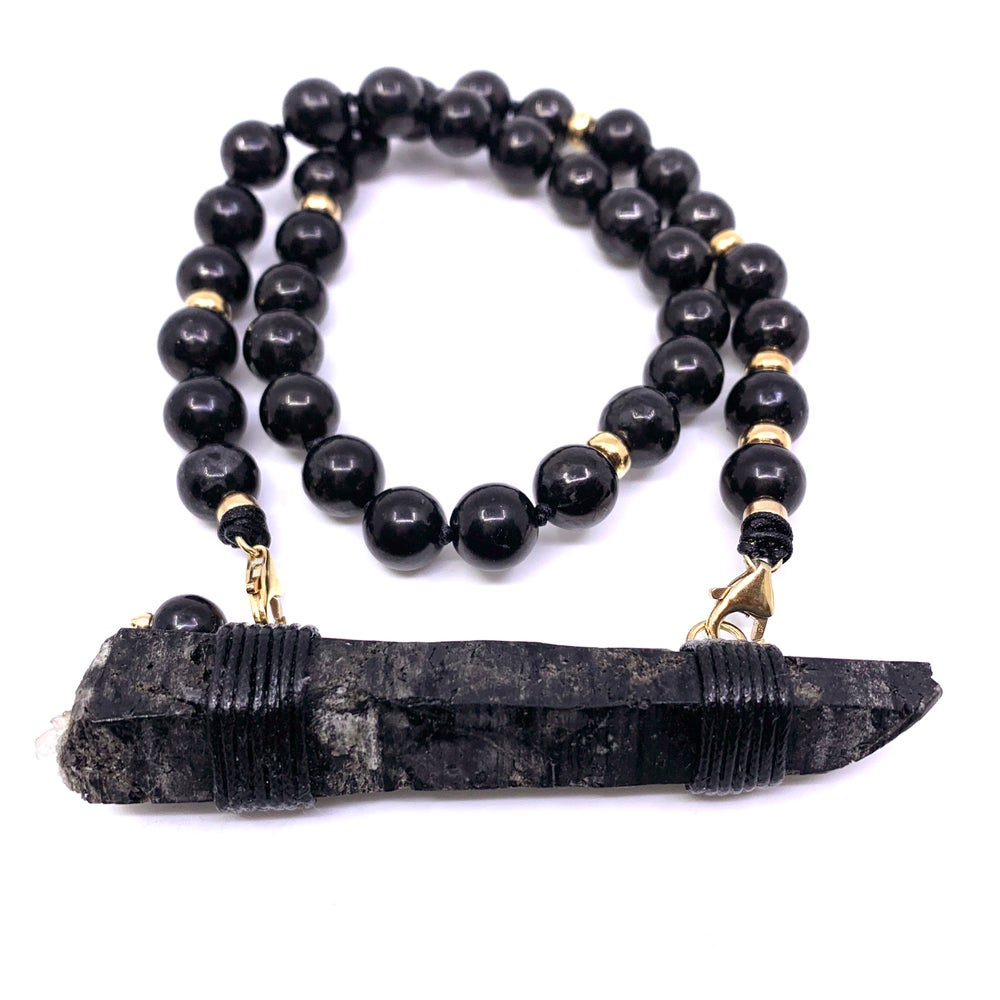 Image of Shungite Choker 33 Gold, with Black Mongolian Quartz