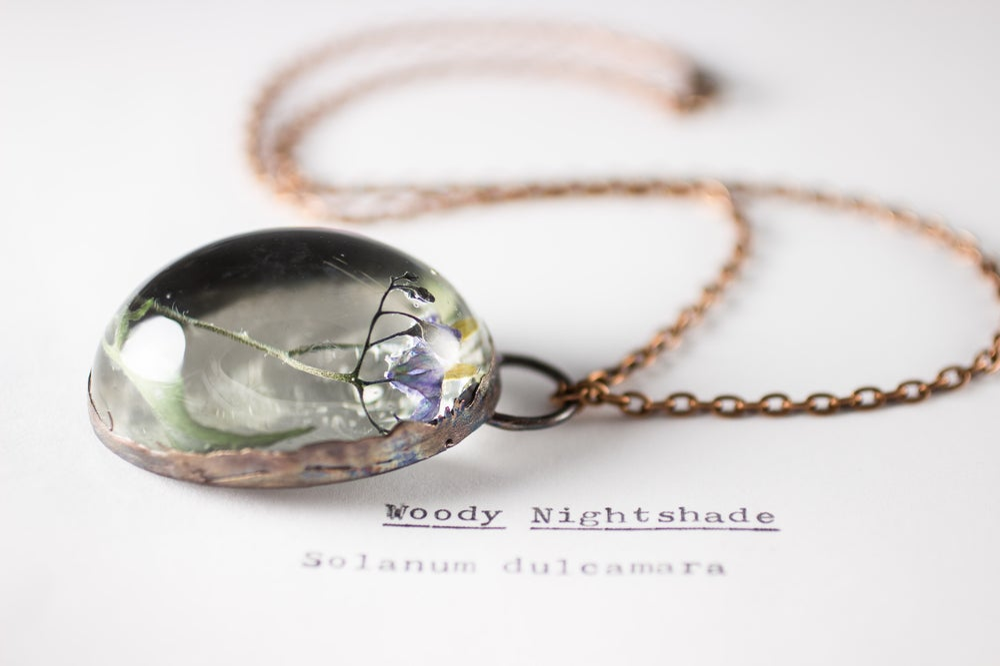 Image of Woody Nightshade (Solanum dulcamara) - Copper Plated Necklace #2