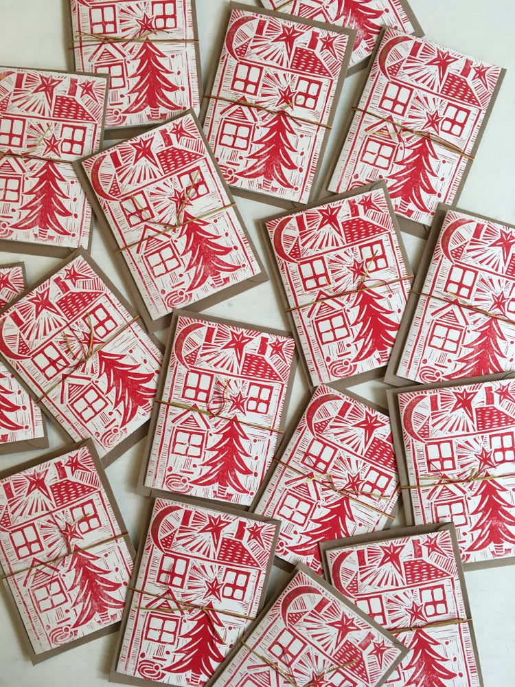 Image of 'Home & Tree' hand block printed Christmas cards