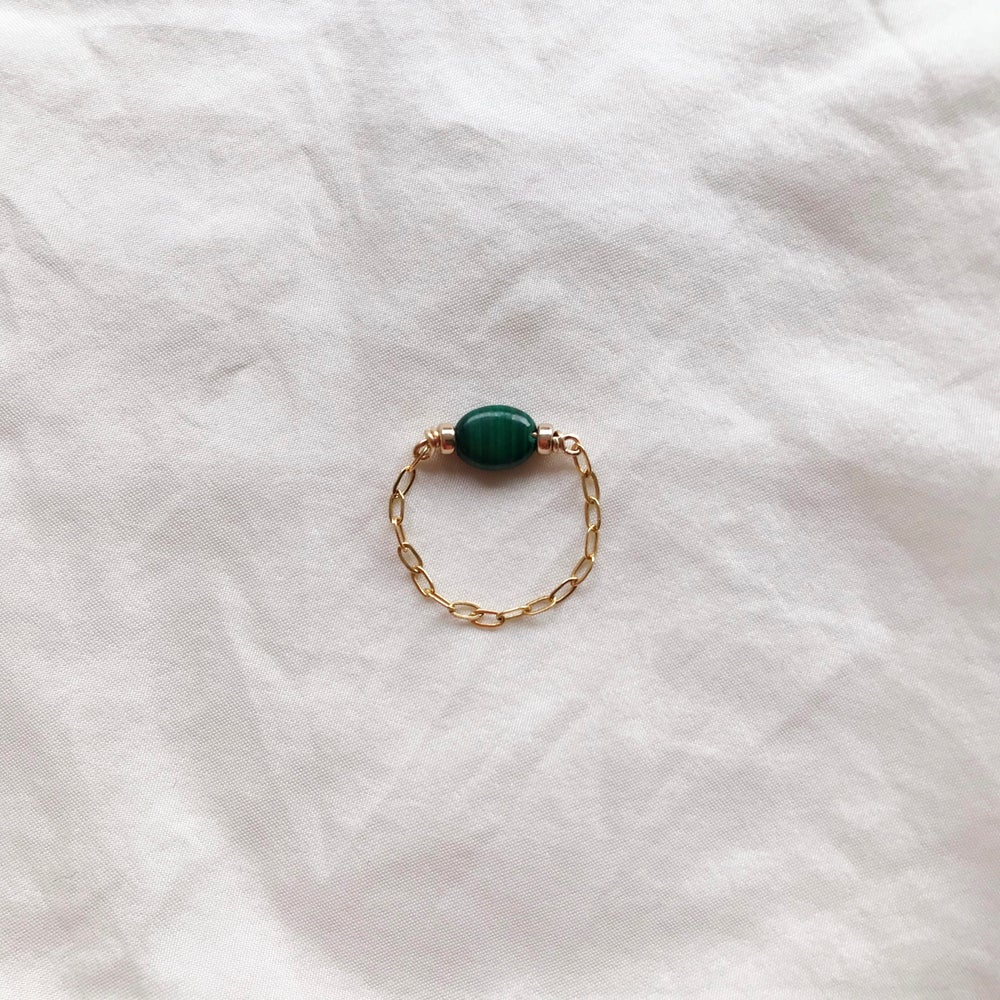 Image of BAGUE CHAINE OR MALACHITE