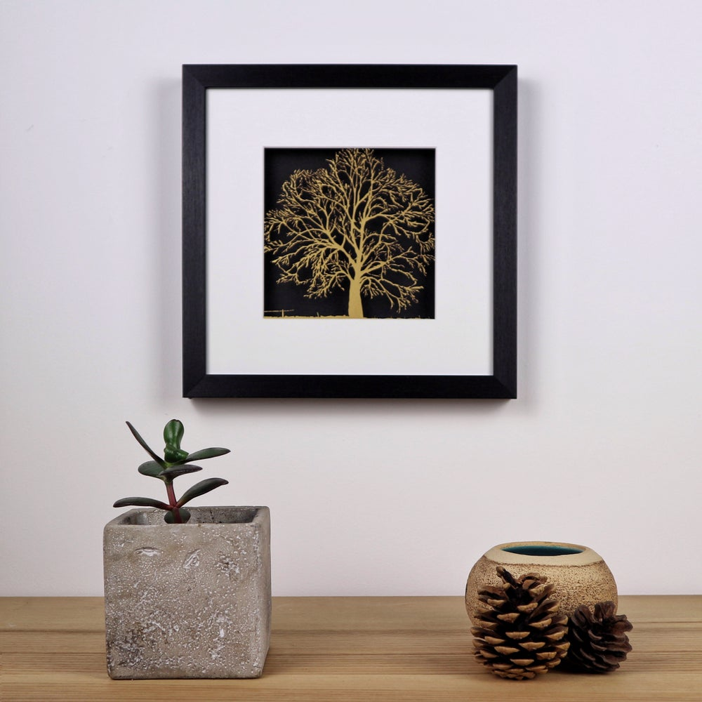 Image of Special Edition Framed Papercut Tree - Gold & Black