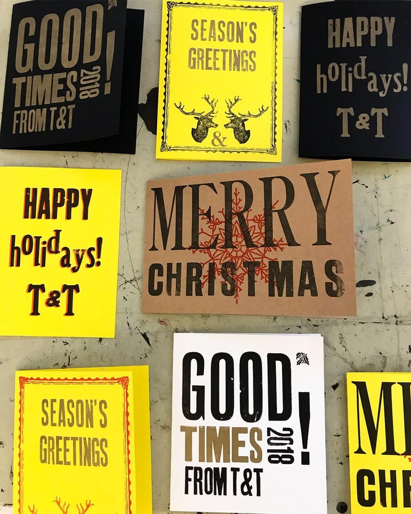 Image of Letterpress Christmas card workshop. Sunday. Dec 6th. 2020. 10am-1pm or 2pm-5pm sessions