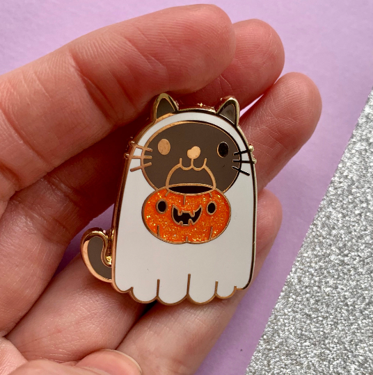 Image of Ghost Cat Enamel Pin Badge
