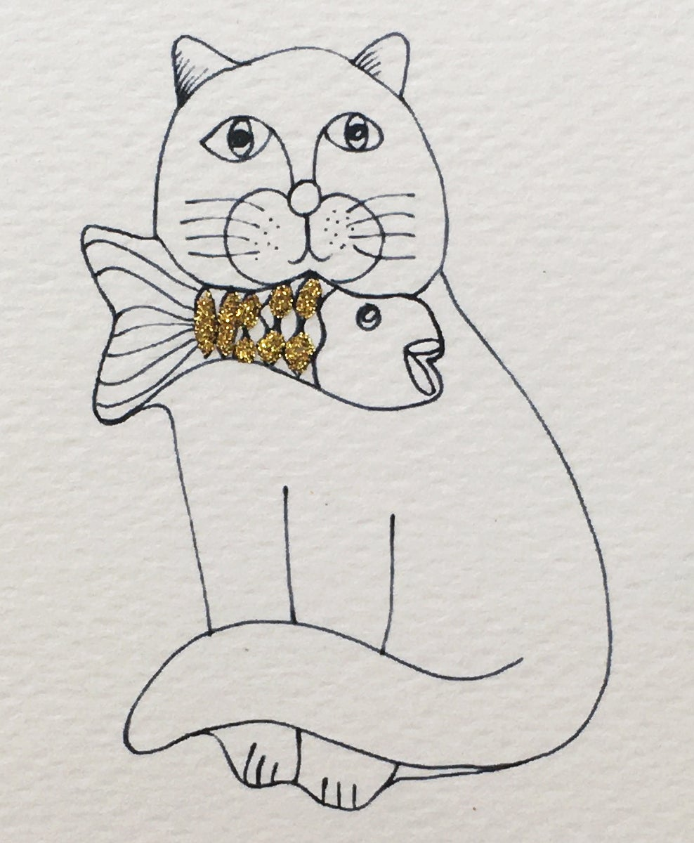 Cat and Fish Outline Card