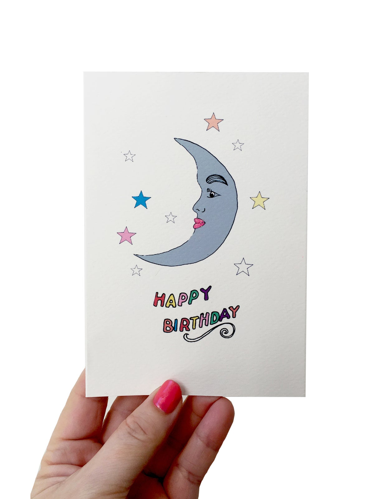 Moon Stars Birthday Card