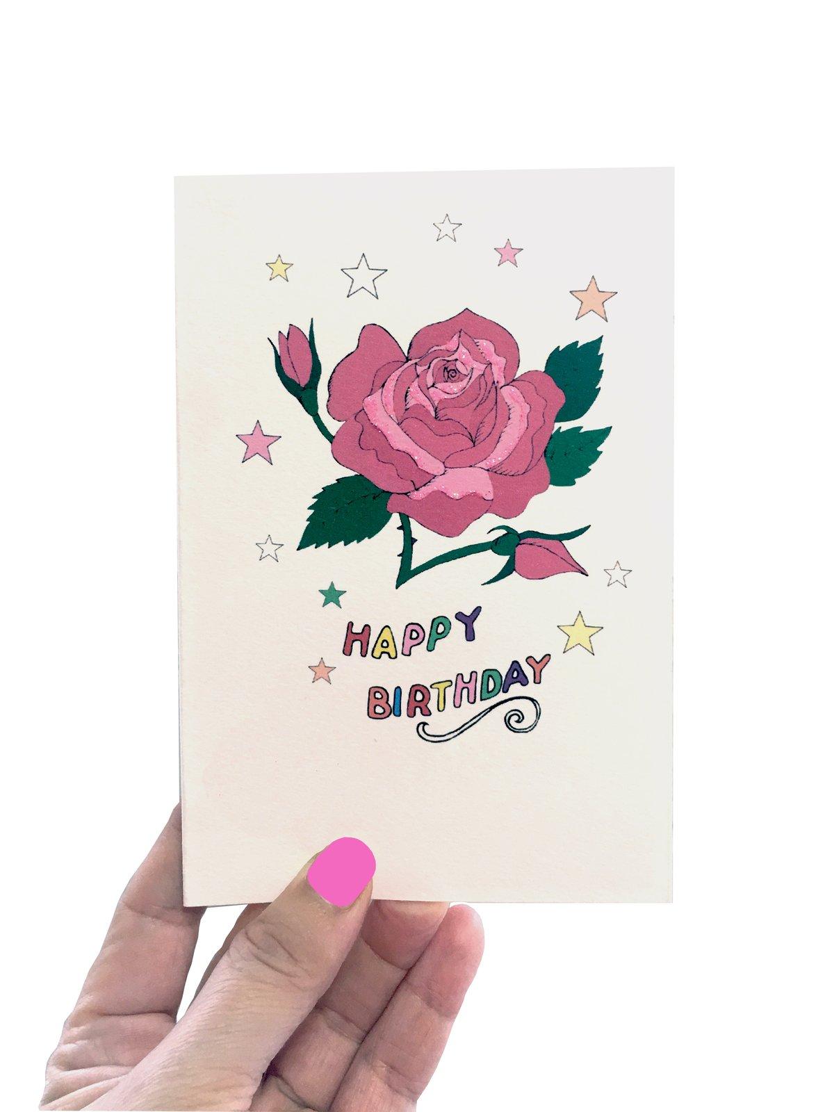 Pink Rose Stars Card