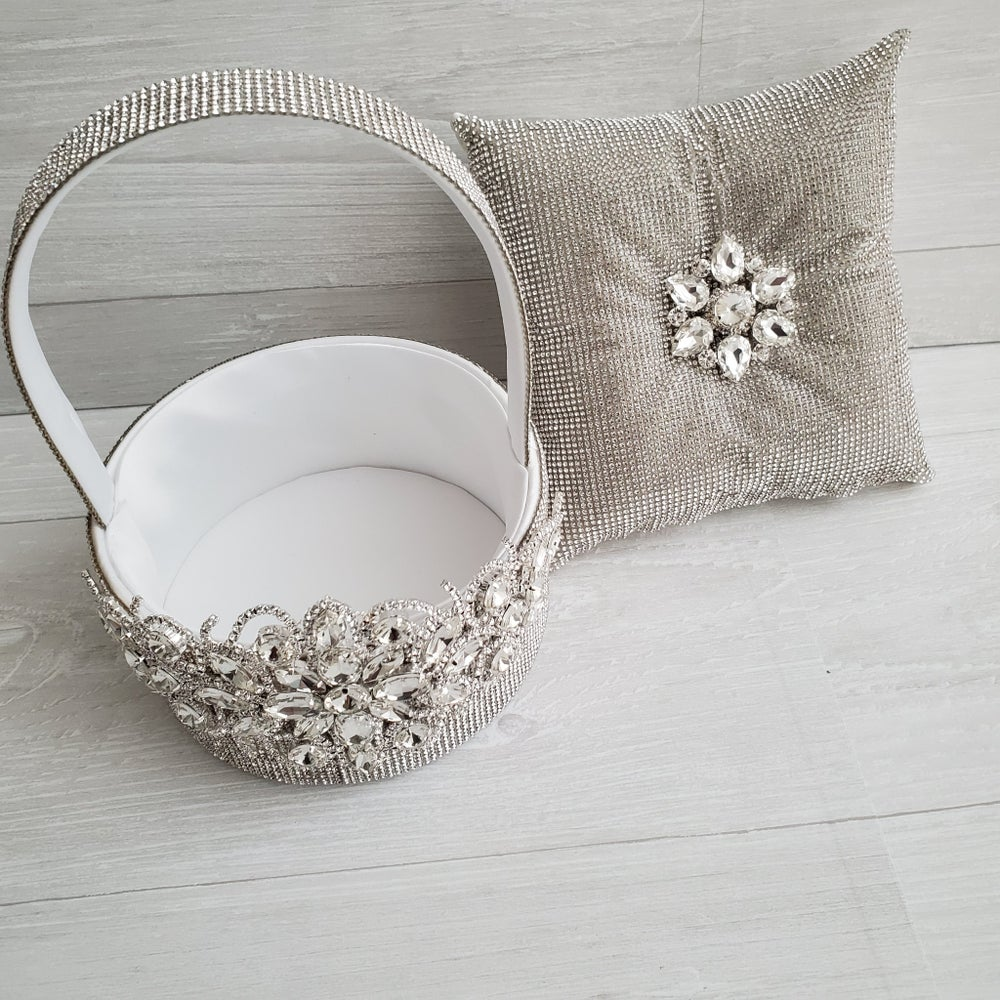 """Kendell"" Flower Girl Basket and Pillow"