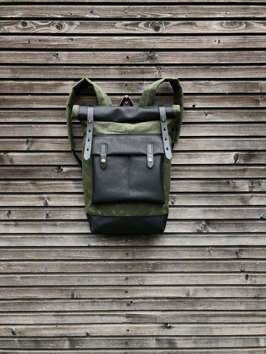 Image of Waxed canvas backpack with roll up top and handwaxed leather bottom collection unisex
