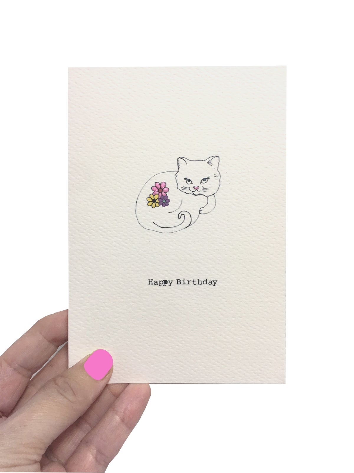 White Cat Birthday Card
