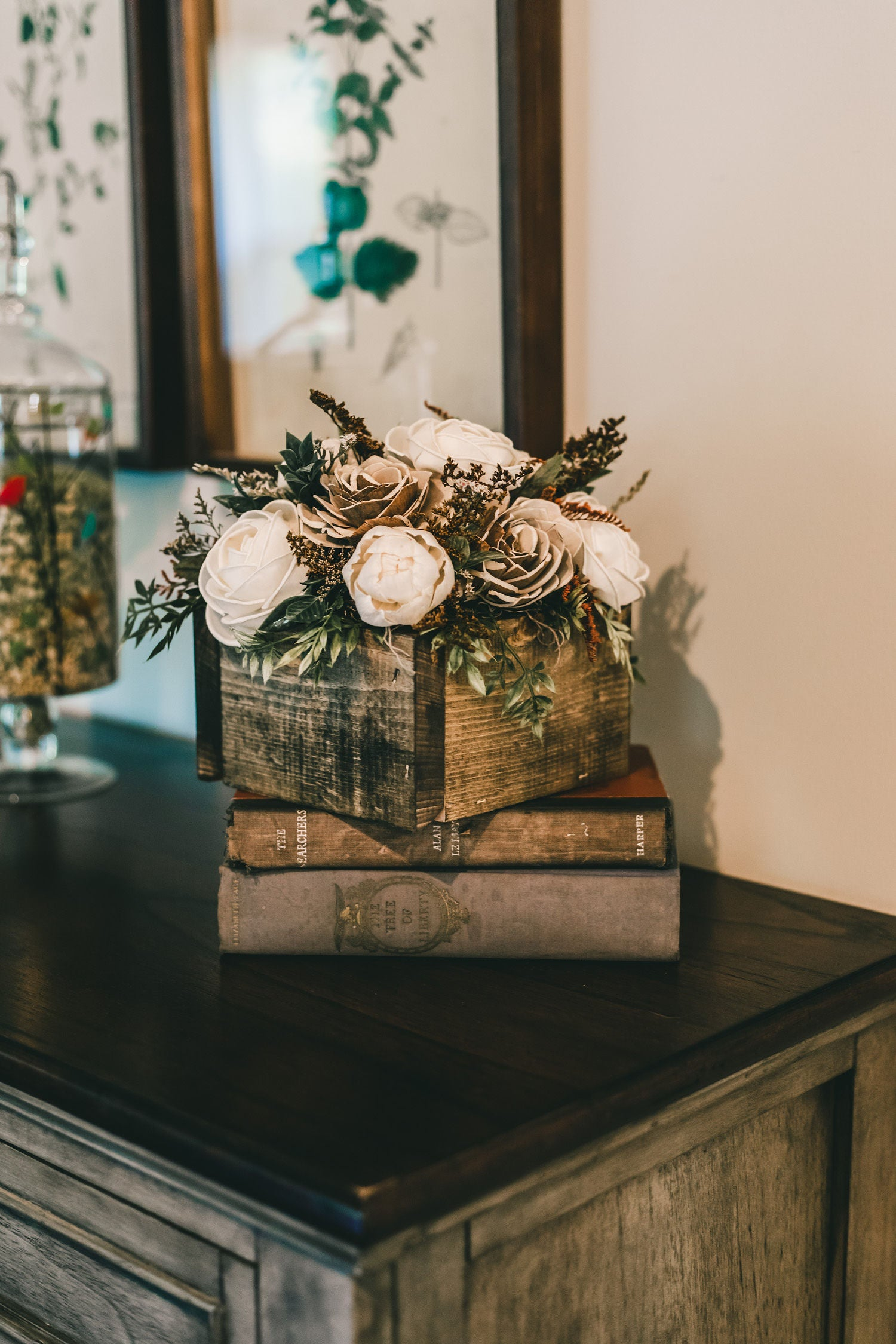"Image of Rustic Wood Flower Arrangement * Note, 6x6"" box is seen in the pictures"