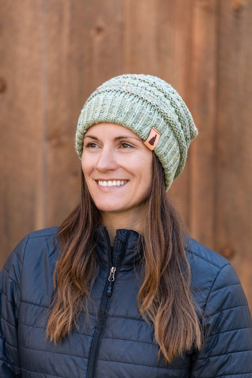 Image of Speckled Knit Beanie- Sage