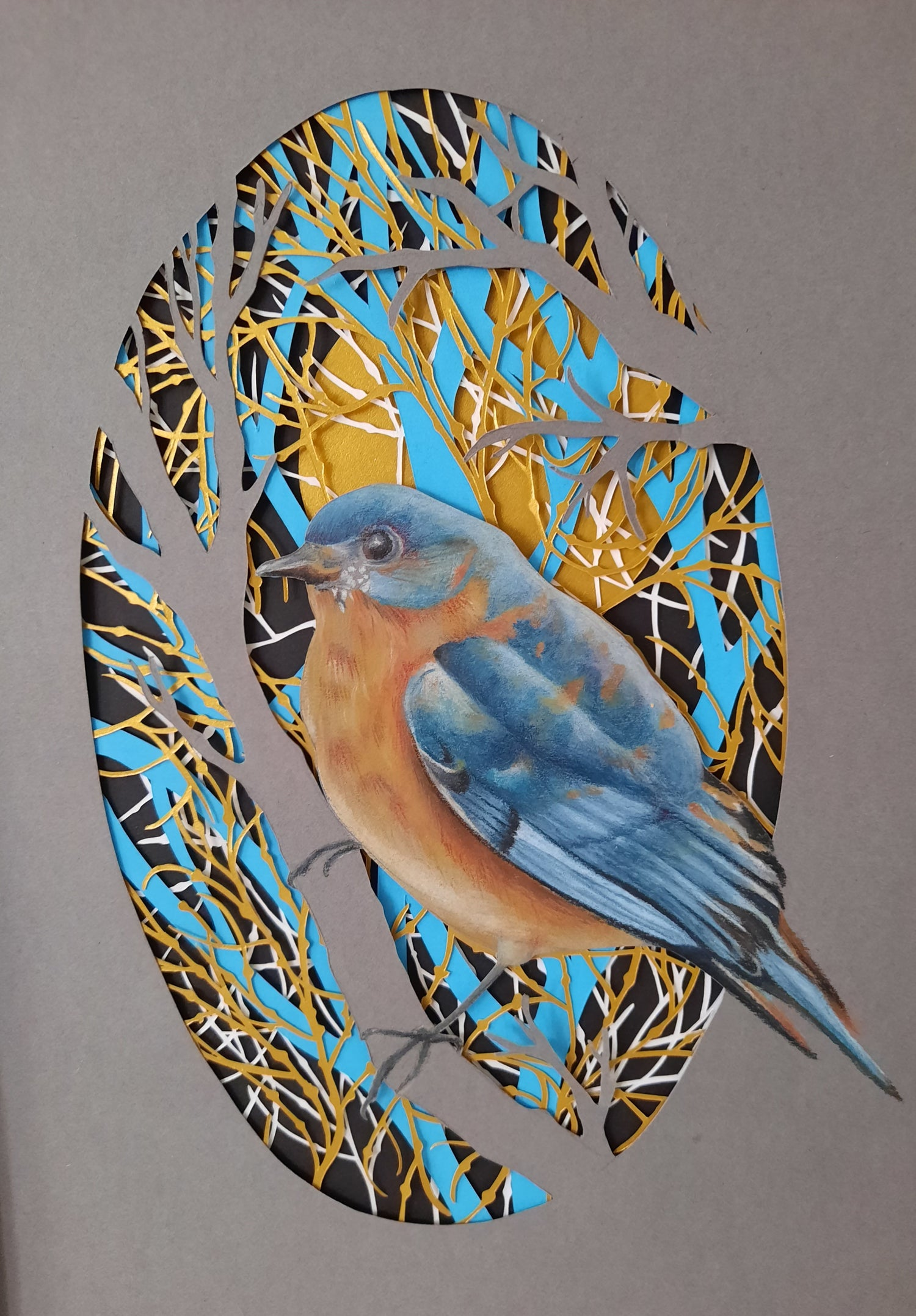 Image of Blue Bird Drawing and Multi-Layered Paper Cutting