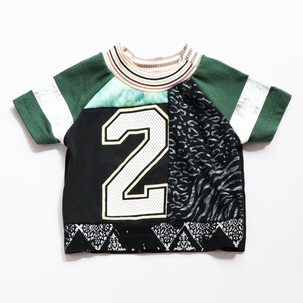 Image of green black moody bold bday boy kid unisex 2T two 2 second 2nd birthday short sleeve top shirt gift