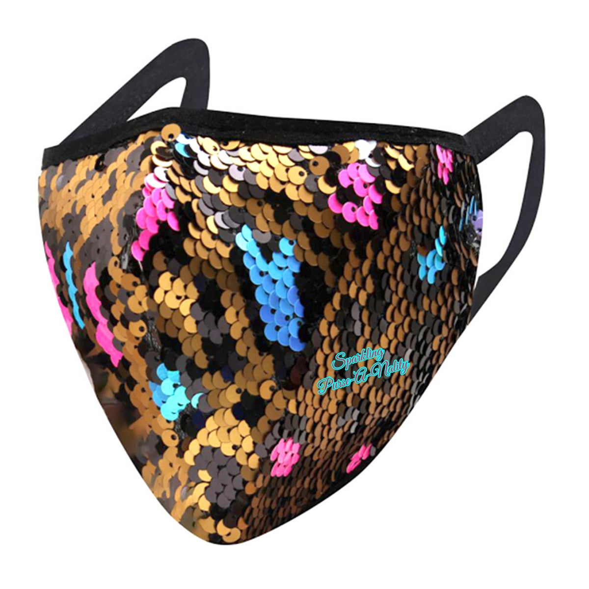 """Image of """"Sparkling"""" Multicolored   Leopard Print Mask"""