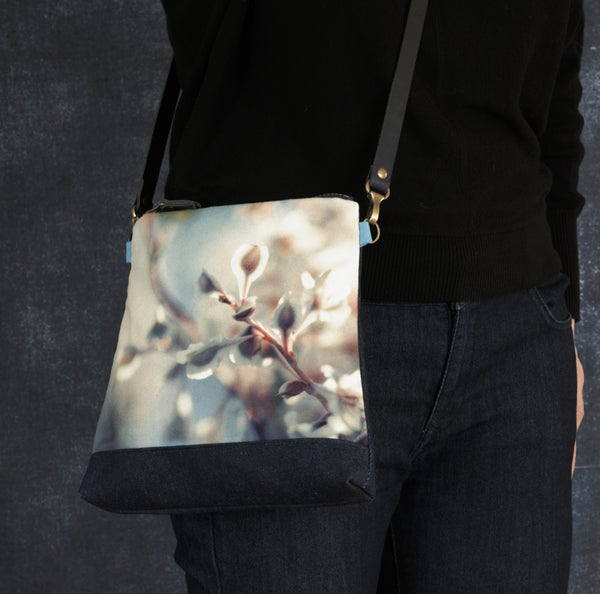 Image of Velvet flower, shoulder bag with crossbody leather strap