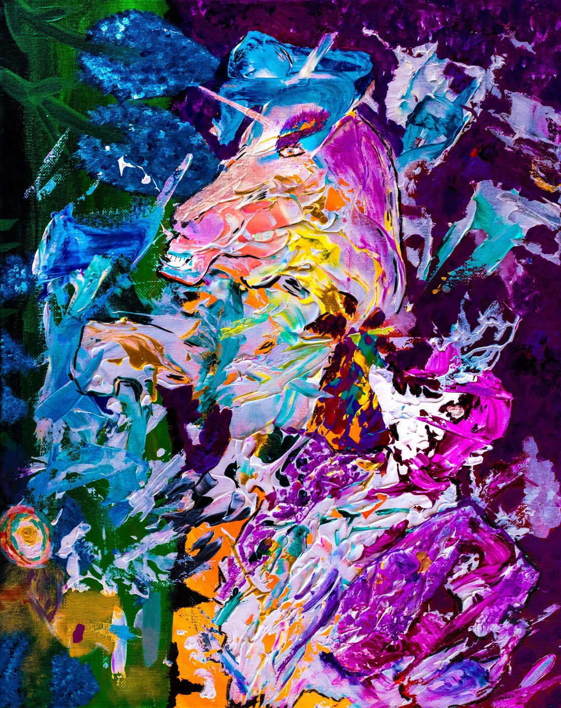 Image of Unicorn Exploding, Bucking Her Jockey (original SOLD)