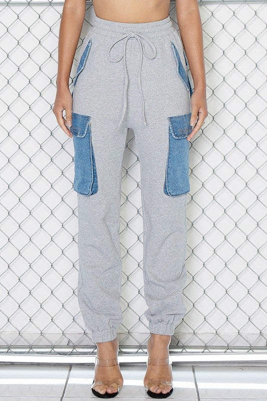 Image of Denim Cargo Joggers