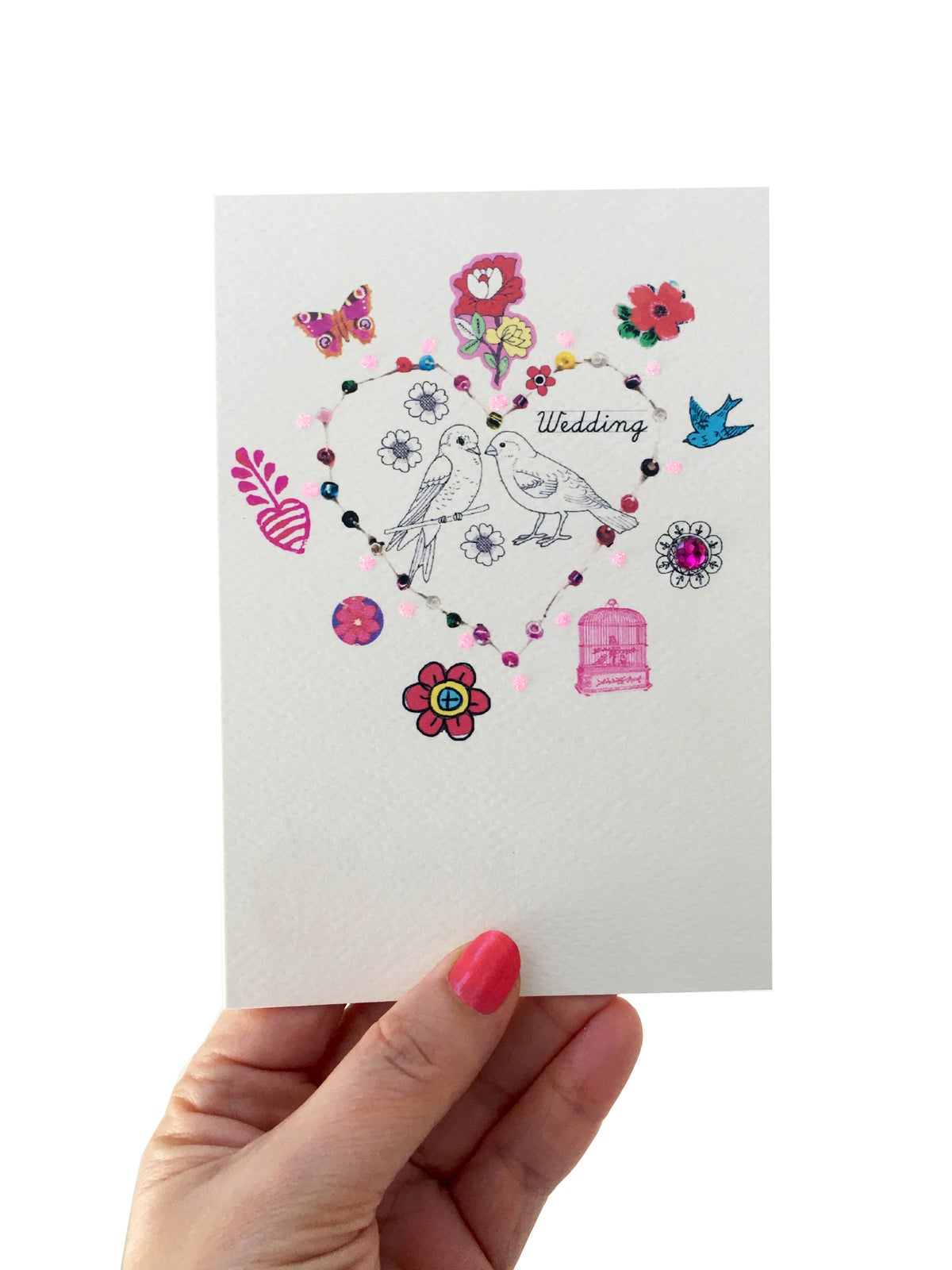 Beaded Love Birds Wedding Card