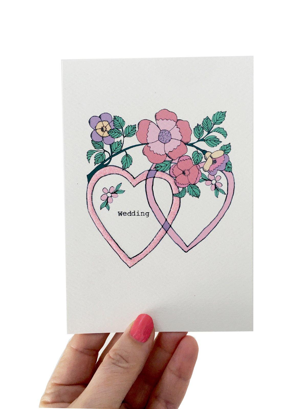 Double Hearts Wedding Card