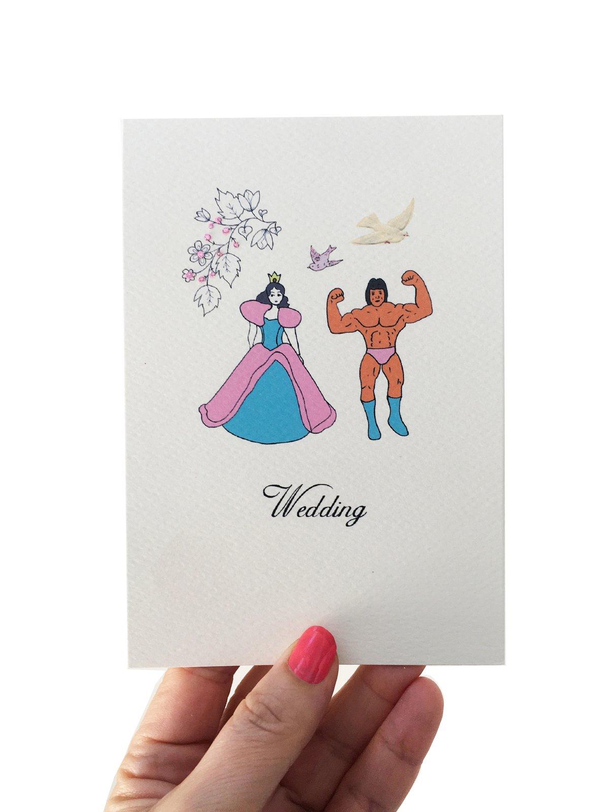 Princess and Strongman Wedding Card