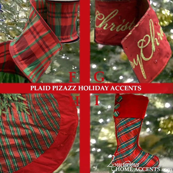 Image of Red and Green Plaid Christmas Holiday Decorations