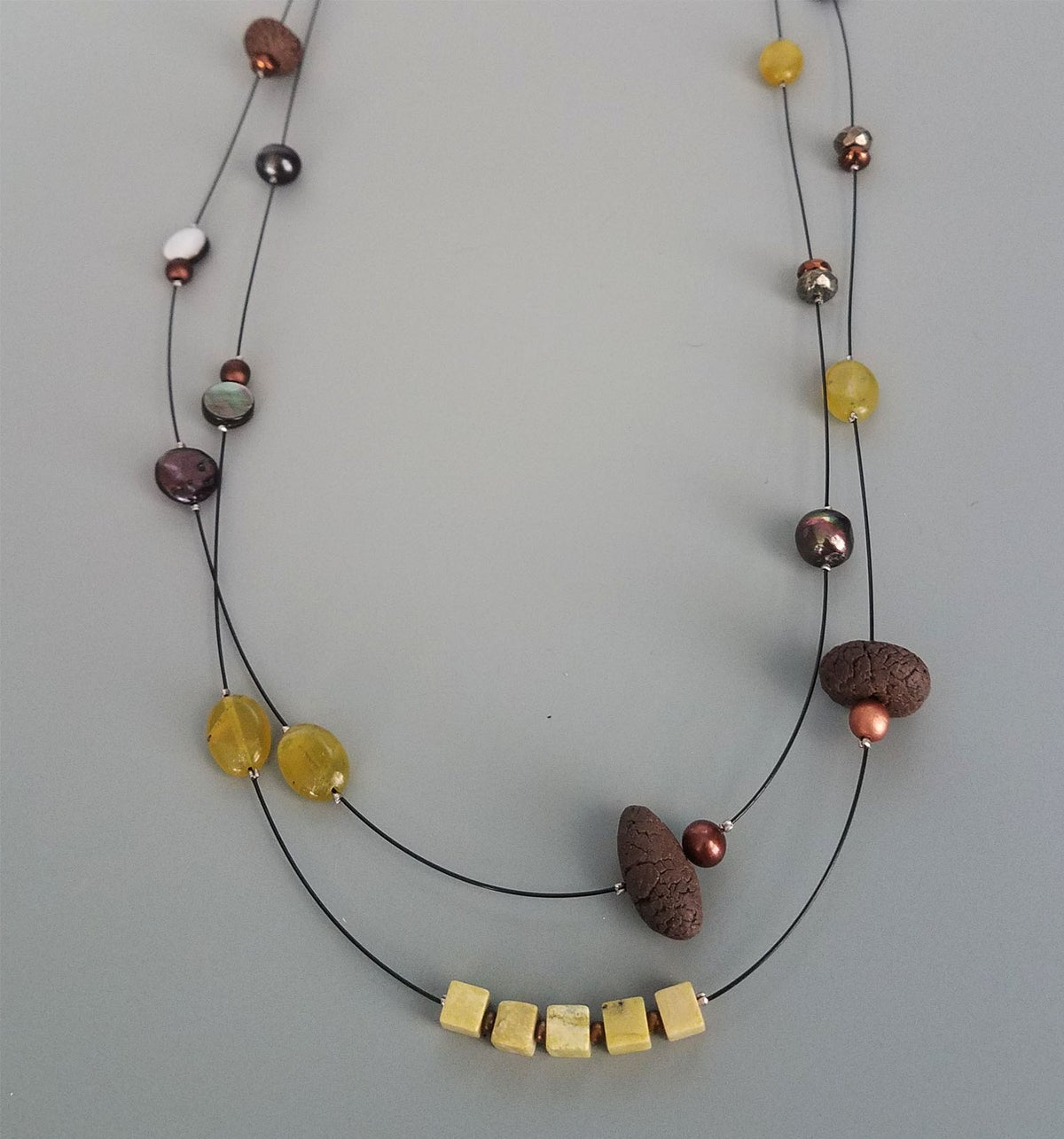 Stoneware necklace- copper and gold