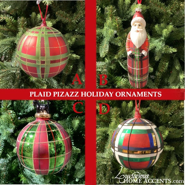 Image of Red and Green Plaid Christmas Holiday Ornaments