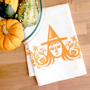 Image of Witch and Cats Kitchen Towel