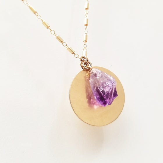 Image of Purple Amethyst Disk Necklace