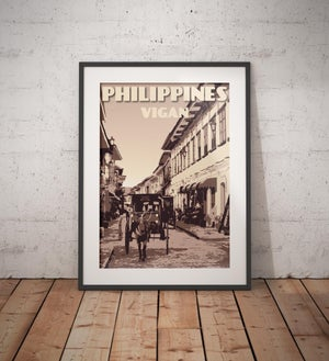 Image of Vintage poster Philippines - Vigan - Calle Crisologo | Clay | Travel Poster | Fine Art Print