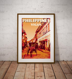 Image of Vintage poster Philippines - Vigan - Calle Crisolo | Orange | Travel Poster | Fine Art Print