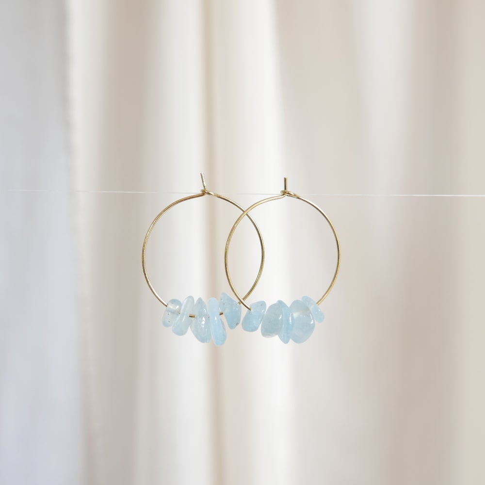 Image of Goodheart Hoops Gemstone - Aquamarine