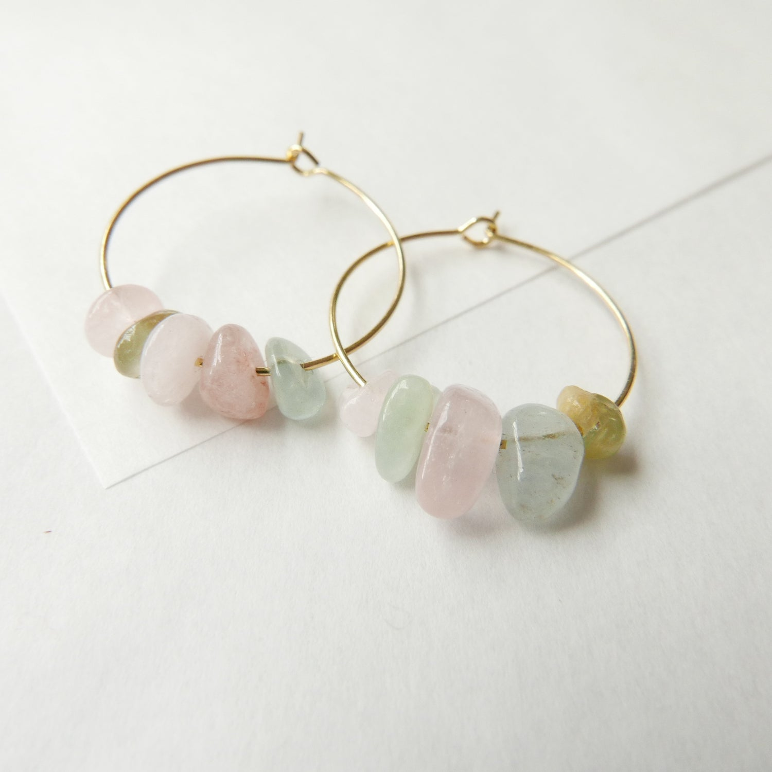 Image of Goodheart Gemstone Hoops - Morganite