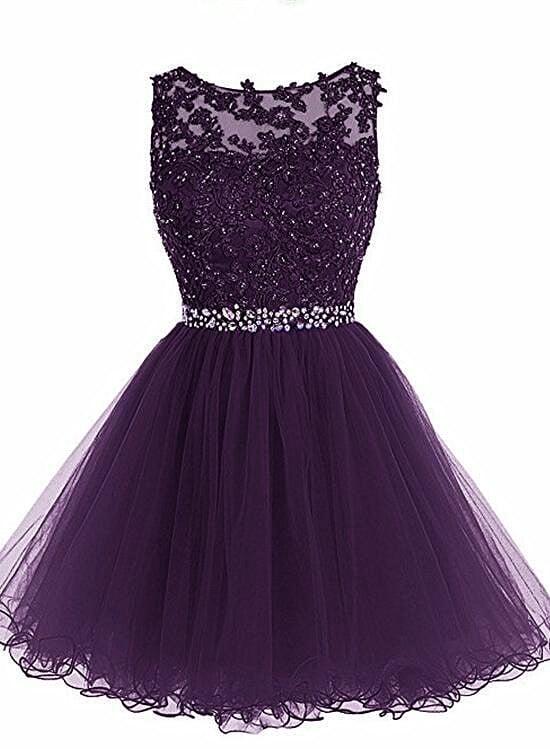Beautiful Purple Tulle Homecoming Dress, Short Prom Dress 2021