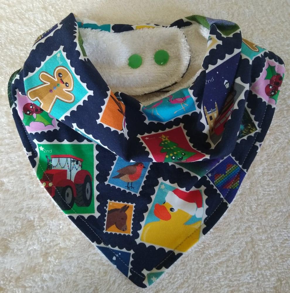 Image of Christmas Stamps Baby/Toddler Bandana Bib