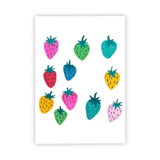 Image of Rainbow Strawberries print