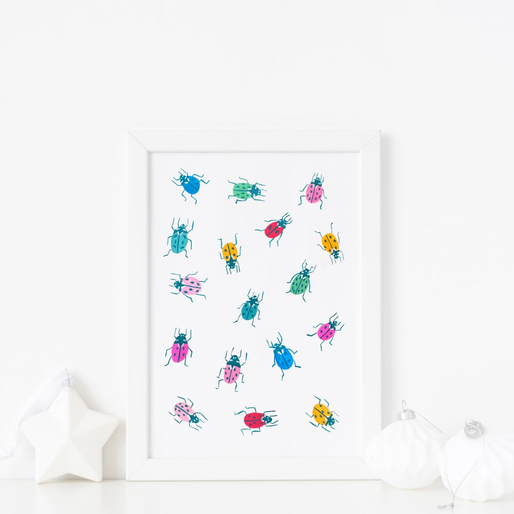 Image of Rainbow ladybirds prints