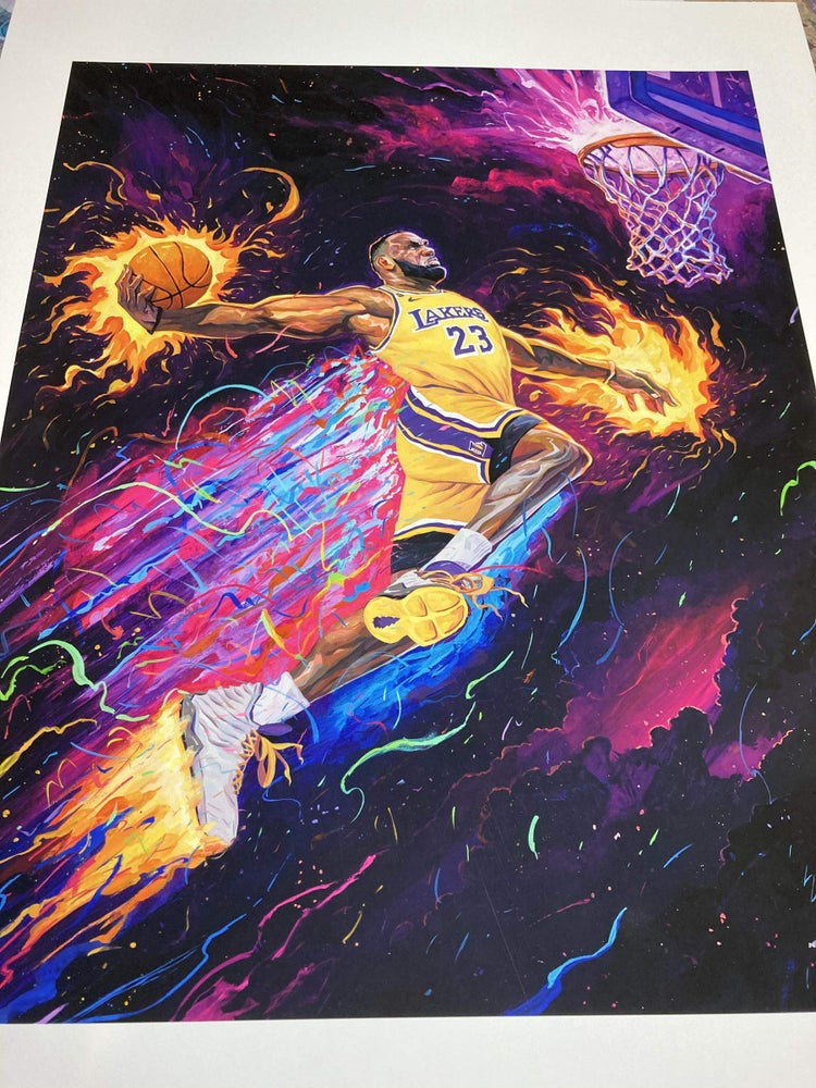 Image of Heat & Lakers 1 out of 1 Hand Painted Jersey, Shorts, Sneakers Prints